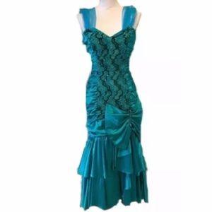 Vtg 80s Mermaid Bow prom Sequin ZUM ZUM 7-8 XS